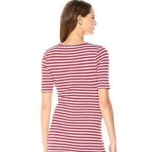 ANTHROPOLOGIE Three Dots NAVY White Stripe Dress